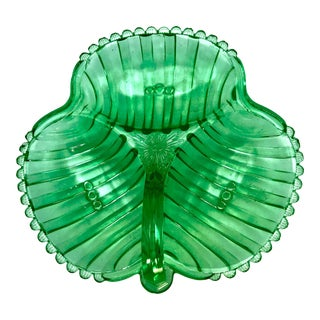 "Large 10"" Victorian Clover Shaped Uranium Glass Divided Dish For Sale"