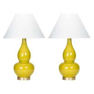 Casa Cosima Double Gourd Table Lamp, Citron Craquelure/Ivory Shade, a Pair For Sale
