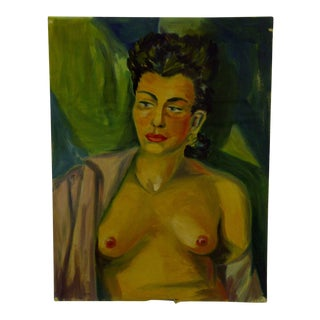 "1949 Original ""Bare Breasts - Short Hair"" Painting on Paper by Tom Sturges Jr."