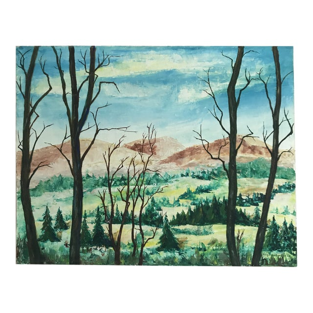Vintage Mountains and Forest Scene Painting For Sale