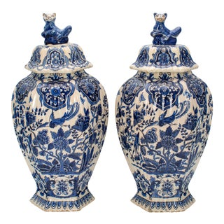 18th Century Delft Jars - a Pair For Sale