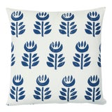 Image of Schumacher Rosenborg Hand Print Pillow in Navy For Sale
