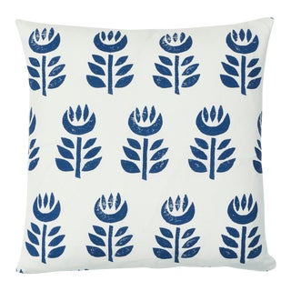 Schumacher Rosenborg Hand Print Pillow in Navy For Sale