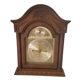 Vintage Walnut Springfield Instrument Company Weather Clock For Sale