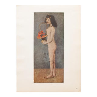 """1948 Pablo Picasso Original """"Young Girl With a Flower Basket"""" Lithograph, C. O. A. For Sale"""