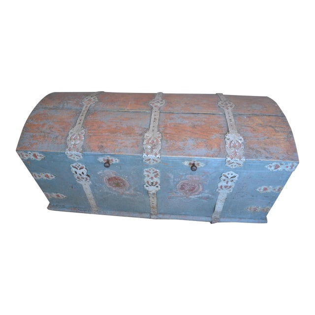 Antique Swedish Immigrant Trunk For Sale