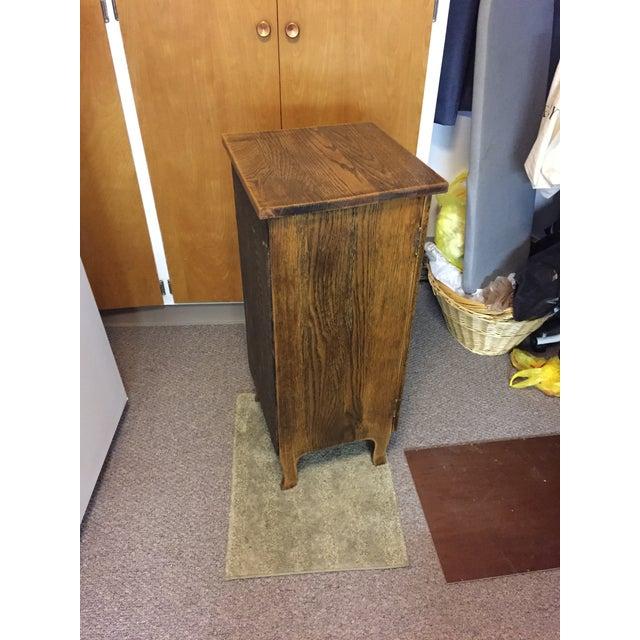 Vintage Oak Record Cabinet For Sale - Image 6 of 6