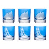 Image of ARTEL Golden Age of Yachting Collection Double Old Fashioned Glass in Endurance and Centennial in Blue - Set of 6 For Sale