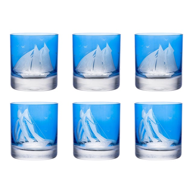ARTEL Golden Age of Yachting Collection Double Old Fashioned Glass in Endurance and Centennial in Blue - Set of 6 For Sale
