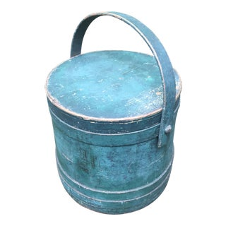 Antique American Green Blue Painted Firkin For Sale