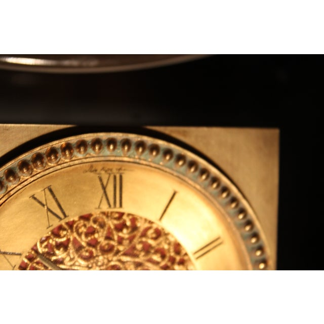 Late 20th Century Sfa French Solid Brass Clock For Sale - Image 5 of 6