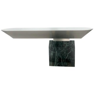 Brueton Console Table Illuminated Stainless Steel and Marble by J. Wade Beam For Sale