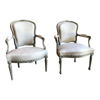 French Louis XV/XVI Armchairs - a Pair For Sale