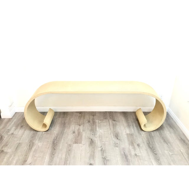 Mid Century Cream Raffia Console/Sofa Table For Sale - Image 4 of 11