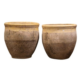 French Terracotta and Yellow Glazed Planters From Provence-a Pair For Sale