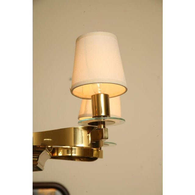 French Brass and Glass Chandelier Inspired by Gilbert Poillerat - Image 5 of 9