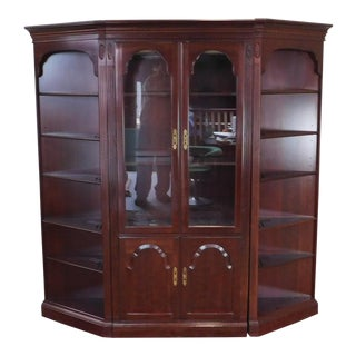3 Piece Ethan Allen Georgian Court Cherry Wall Unit Cabinet ~ Center Curio Cabinet W/ 2 Corner Pieces For Sale