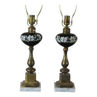 Antique Electrified Gas Oil Lamps Black Enamel With Hand Painted Pink Dogwood Flowers Brass With Marble Base-Pair For Sale