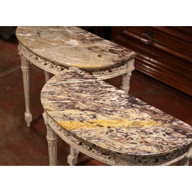 French Pair of 19th Century Louis XVI Carved Painted Demilune Consoles With Marble Top For Sale - Image 3 of 10