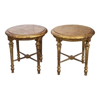 Vagabond Vintage Giltwood Side Tables-A Pair For Sale
