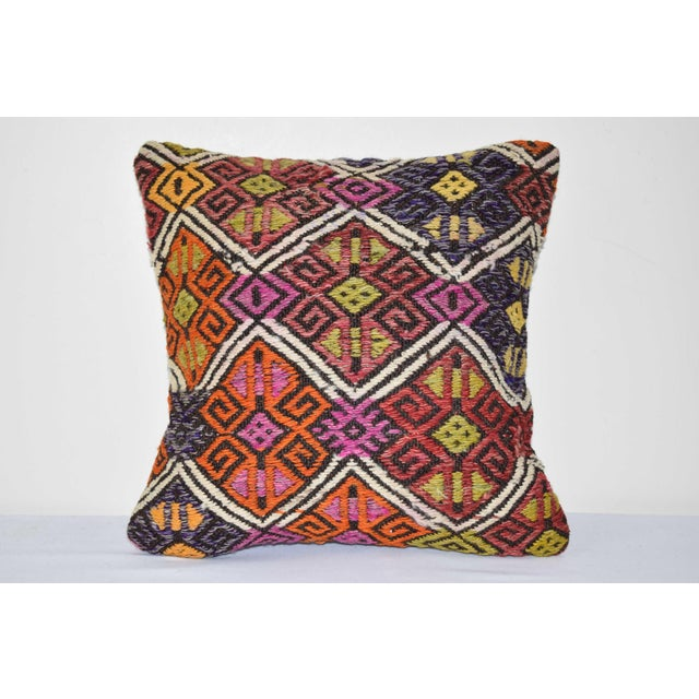 "Turkish Cicim Kilim Cushion Cover 14"" X 14"" For Sale In Dallas - Image 6 of 6"