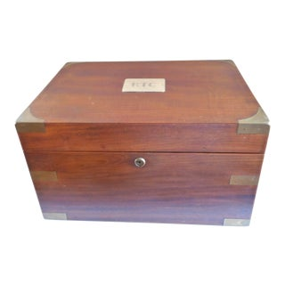 Antique Walnut & Brass Campaign Style Cigar Humidor With Plaque & Milk Glass Lining For Sale