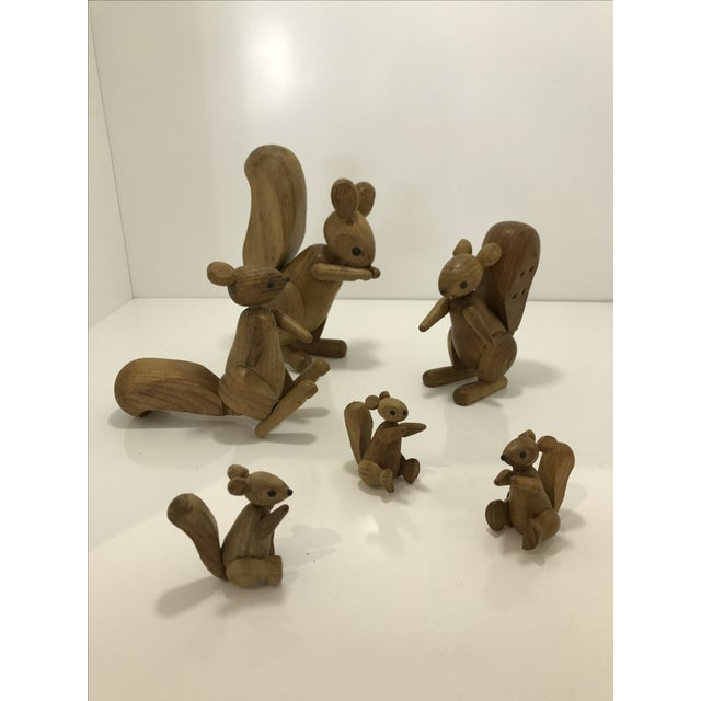 Vintage wooden family of squirrels from Japan 1950's!