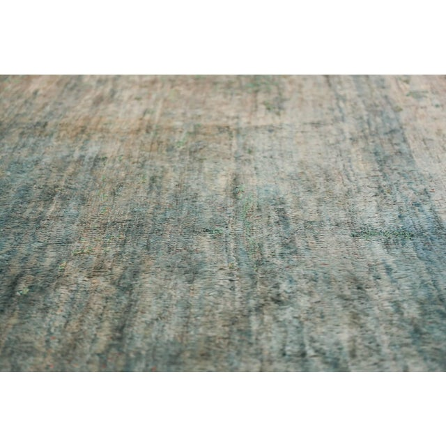 Early 20th Century Antique Turkish Angora Oushak Light Blue Open Field Rug - 10′3″ × 12′9″ For Sale - Image 5 of 11
