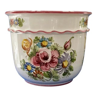 Hand Painted West German Cachepot For Sale