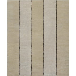 1930s Handwoven Wool Vertical Striped Deco Rug For Sale