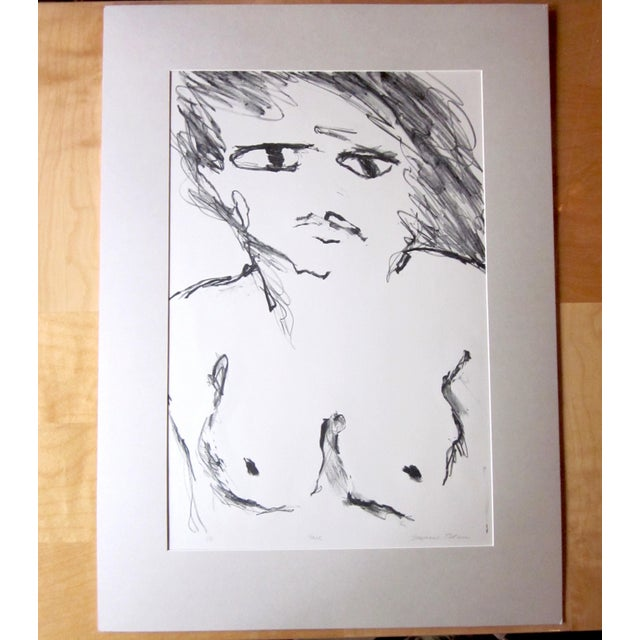 "Black 1970s Vintage Suzanne Peters ""Face"" Nude Woman Limited Edition Signed Lithograph For Sale - Image 8 of 8"