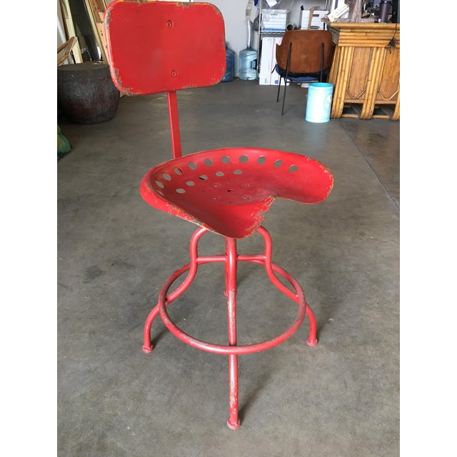 Rustic Industrial Steel and Iron Tractor Work Stool For Sale In San Diego - Image 6 of 8