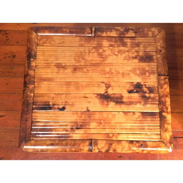 Vintage Tortoise Burnt Bamboo Nesting Stools - Set of 3 - Image 4 of 9