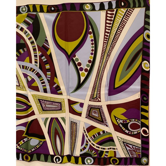 Abstract Expressionism Pucci Classic Psychedelic Silk Scarf For Sale - Image 3 of 6