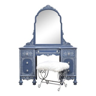 1920's Jacobean Vanity With Stool - 2 Pieces For Sale