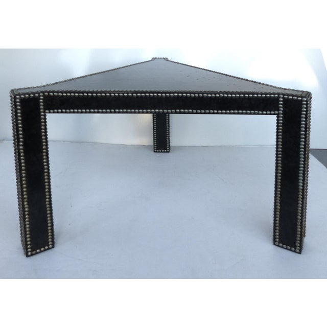 Hollywood Regency Regency Style Parchment & Studs Triangle Tables - A Pair For Sale - Image 3 of 9