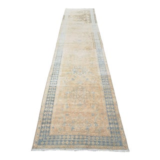 1950s Persian Hand-Knotted Heriz Runner Rug For Sale