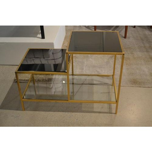 Vintage Gilt Metal End Table With Smoked Glass, France, C.1970 For Sale In Nashville - Image 6 of 7