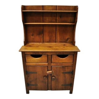 Antique Pine Wood Step Back Childs Size Small Colonial Hutch Cupboard Cabinet For Sale