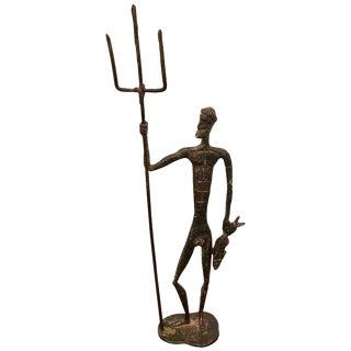 Midcentury Bronze Sculpture of Poseidon For Sale