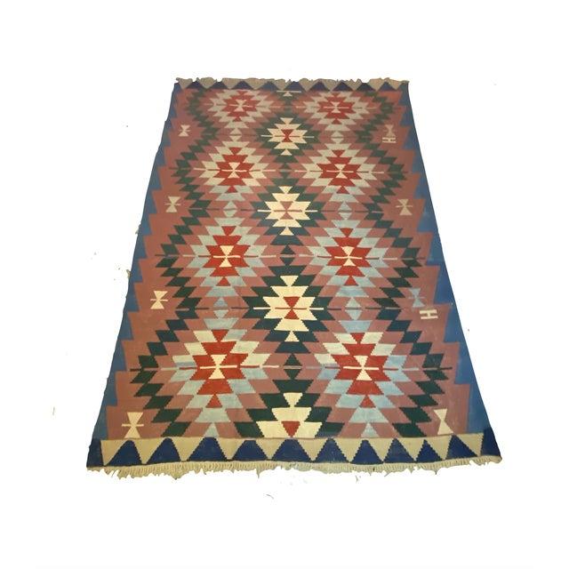 Vintage Handwoven Wool Flat Weave Fringed Turkish Rug For Sale In Detroit - Image 6 of 6