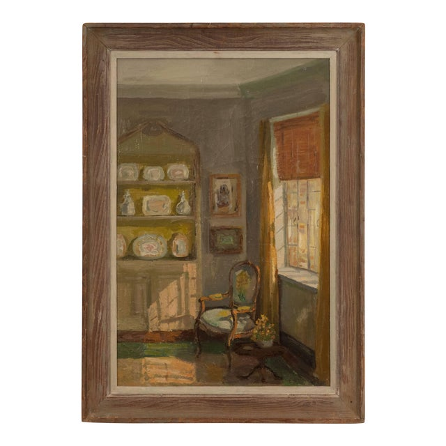 Framed Oil Painting of an Interior For Sale