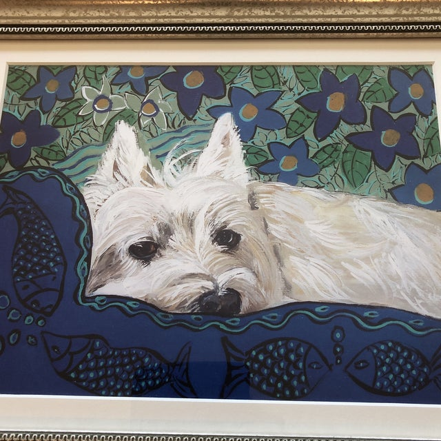 Print on paper after original painting by contemporary artist Judy Henn 9 x 12 Overall size with frame 14.5 x 17.5