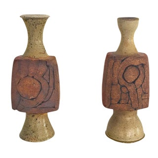 Mid-Century Signed Art Ceramic Vessels- a Pair For Sale