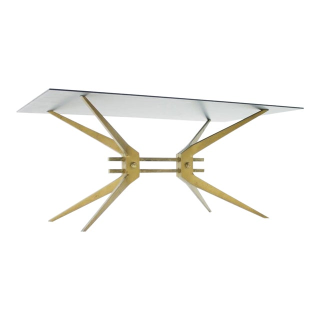 Italian Coffee Table in Brass and Glass, 1950s For Sale