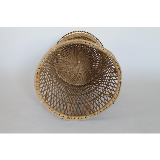 Boho Style Wicker Plant Stand For Sale - Image 4 of 5