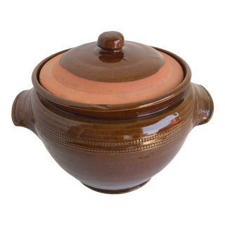 Pearson's Salt Glazed Brown Stoneware Pottery Crock With Lid For Sale