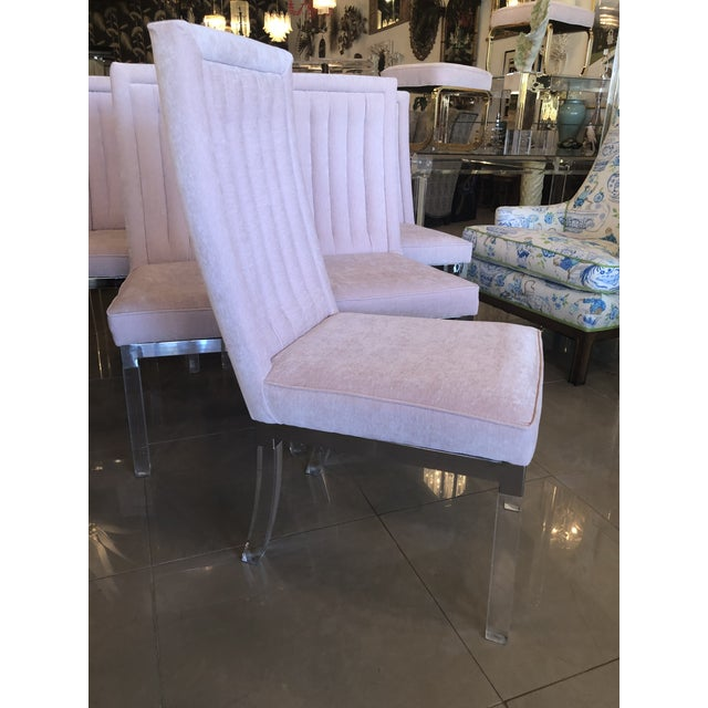 Hollywood Regency Charles Hollis Jones Lucite Dining Chairs - Set of 6 For Sale - Image 3 of 12