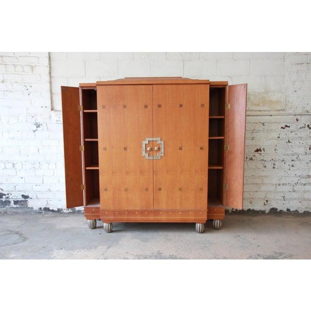 Baker Furniture Art Deco Style Burlwood Armoire - Image 6 of 11