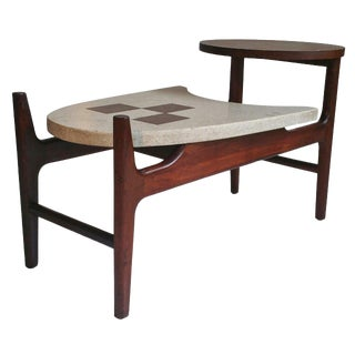 Rare Harvey Probber Two-Tier Terrazzo and Walnut Table For Sale